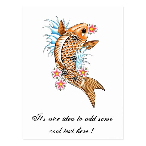 Cool Oriental Japanese Orange Koi Carp Fish Postcards