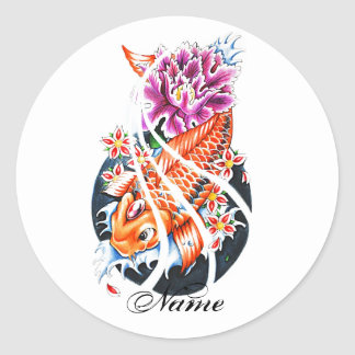 Cool Oriental Japanese Orange Koi Fish Carp Lotus Classic Round Sticker