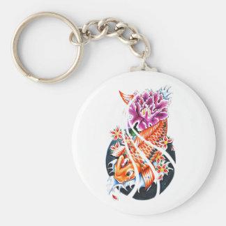 Cool Oriental Japanese Orange Koi Fish Carp Lotus Key Chains