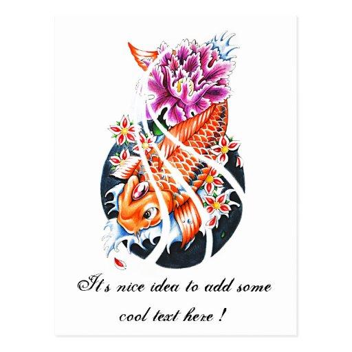 Cool oriental japanese orange koi fish carp lotus postcard for Cool koi fish