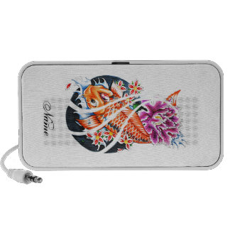 Cool Oriental Japanese Orange Koi Fish Carp Lotus Speakers