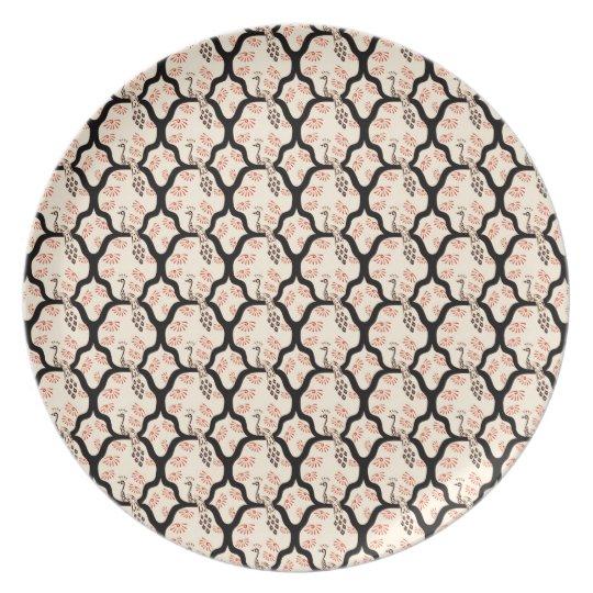 Cool oriental japanese peacook pattern melamine plate