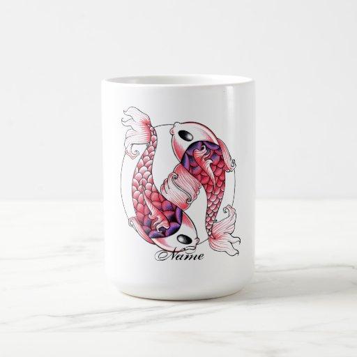 Cool Oriental Japanese pink Koi Carp Yin Yang Coffee Mug