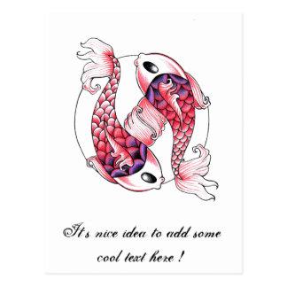 Cool Oriental Japanese pink Koi Carp Yin Yang Post Cards
