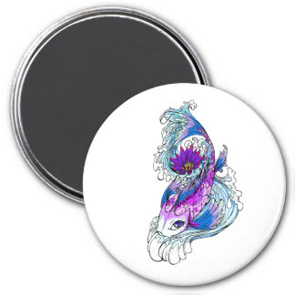Cool Oriental Japanese Purple Koi Fish 3 Inch Round Magnet