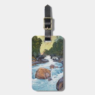 Cool oriental japanese raging forest river rocks travel bag tags