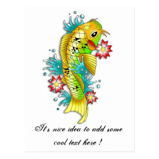 Cool oriental japanese rainbow koi carp fish post card