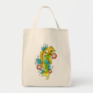 Cool oriental japanese rainbow koi carp fish tote bag