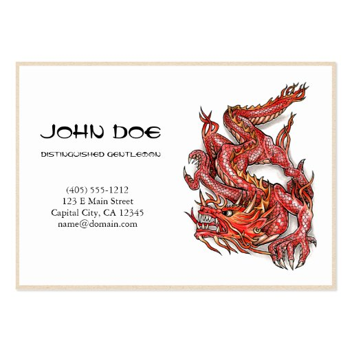 Cool oriental japanese red dragon god tattoo business card templates