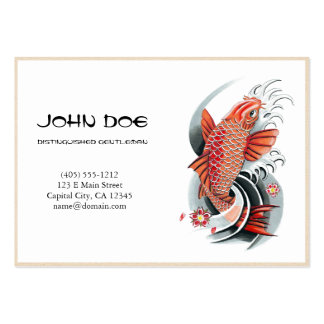 Cool oriental japanese red ink lucky koi fish business cards