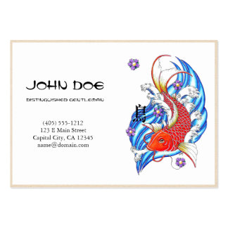 Cool oriental japanese red ink lucky koi fish business card templates