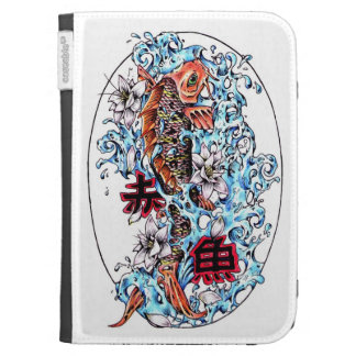 Cool oriental japanese red ink lucky koi fish kindle folio cases