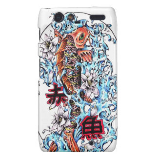Cool oriental japanese red ink lucky koi fish droid RAZR cover