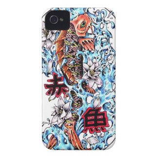 Cool oriental japanese red ink lucky koi fish blackberry cases