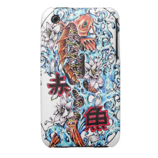 Cool oriental japanese red ink lucky koi fish Case-Mate iPhone 3 cases