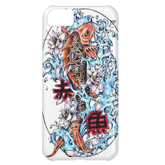 Cool oriental japanese red ink lucky koi fish cover for iPhone 5C