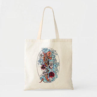 Cool oriental japanese red ink lucky koi fish tote bag