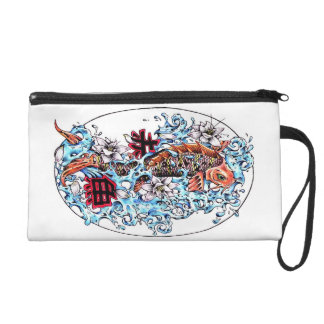 Cool oriental japanese red ink lucky koi fish wristlet purse