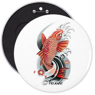 Cool Oriental Japanese Red Koi Carp Fish tattoo Button