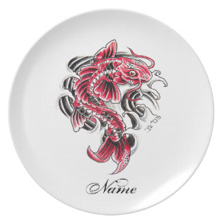 Cool Oriental Japanese Red Koi Carp Fish tattoo Dinner Plate