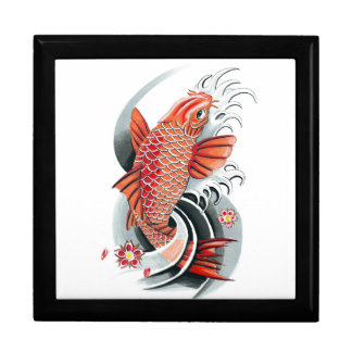 Cool Oriental Japanese Red Koi Carp Fish tattoo Gift Boxes