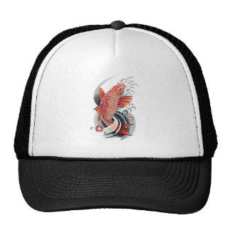 Cool Oriental Japanese Red Koi Carp Fish tattoo Hats