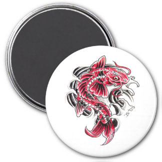 Cool Oriental Japanese Red Koi Carp Fish tattoo 3 Inch Round Magnet