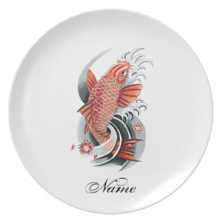 Cool Oriental Japanese Red Koi Carp Fish tattoo Plates