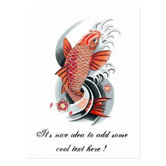 Cool Oriental Japanese Red Koi Carp Fish tattoo Postcards