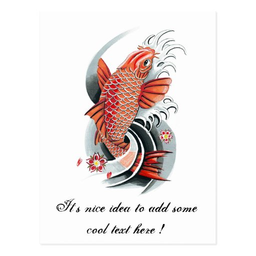 Cool oriental japanese red koi carp fish tattoo postcard for Cool koi fish