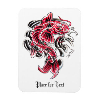 Cool Oriental Japanese Red Koi Carp Fish tattoo Rectangular Photo Magnet