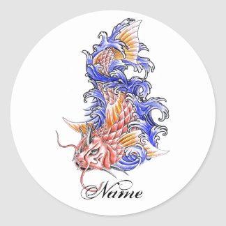 Cool Oriental Japanese Red Koi Carp Fish tattoo Round Stickers