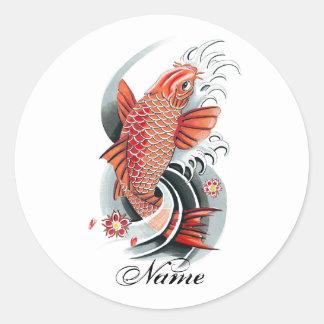 Cool Oriental Japanese Red Koi Carp Fish tattoo Sticker
