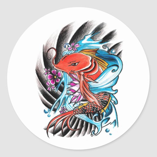Cool oriental japanese red koi fish carp lucky round for Lucky koi fish