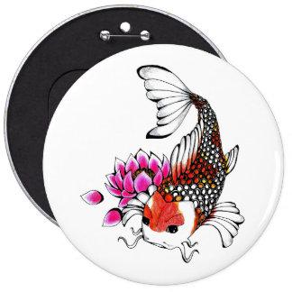 Cool Oriental Japanese Red Koi Lotus tattoo Pinback Button