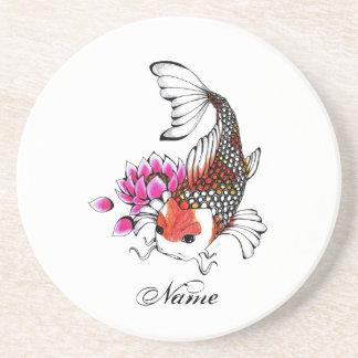 Cool Oriental Japanese Red Koi Lotus tattoo Drink Coaster