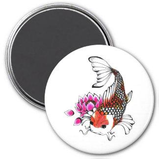 Cool Oriental Japanese Red Koi Lotus tattoo 3 Inch Round Magnet