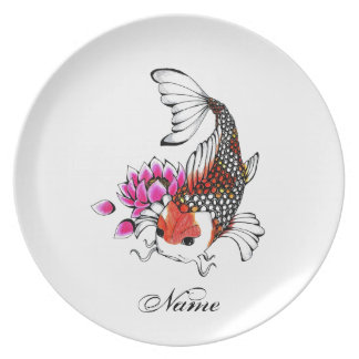 Cool Oriental Japanese Red Koi Lotus tattoo Plate