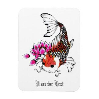 Cool Oriental Japanese Red Koi Lotus tattoo Rectangular Photo Magnet