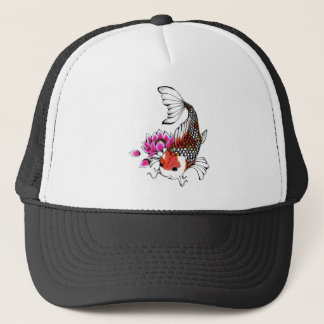 Cool Oriental Japanese Red Koi Lotus tattoo Trucker Hat