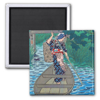 Cool oriental japanese river boat fishing woman 2 inch square magnet