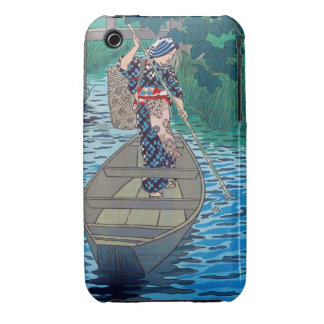 Cool oriental japanese river boat fishing woman iPhone 3 case