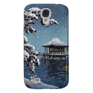 Cool oriental japanese river side winter scene art galaxy s4 cases