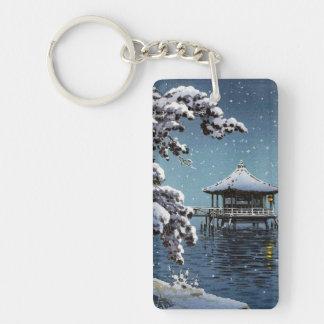 Cool oriental japanese river side winter scene art Double-Sided rectangular acrylic keychain