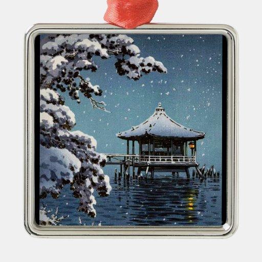 Cool oriental japanese river side winter scene art ornaments