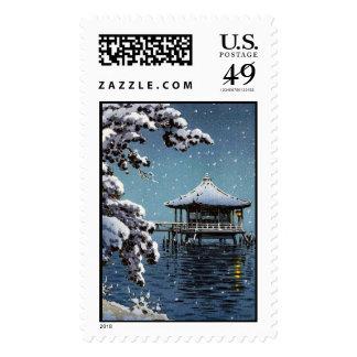 Cool oriental japanese river side winter scene art postage stamps