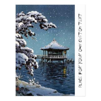 Cool oriental japanese river side winter scene art postcard