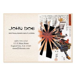 Cool oriental japanese Samurai blistering sun art Large Business Cards (Pack Of 100)