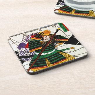 Cool oriental japanese Samurai General Warrior art Coaster