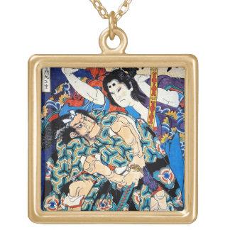 Cool oriental japanese samurai warrior art gold plated necklace